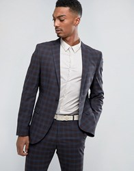 Selected Homme Slim Suit Jacket In Check Blue