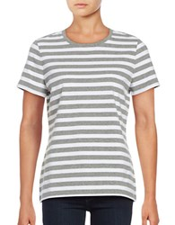 Lord And Taylor Striped Crewneck Tee Silver