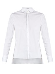 Brunello Cucinelli Monili Embellished Point Collar Cotton Blend Shirt White
