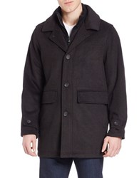 Calvin Klein Wool Button Front Car Coat Hickory Brown
