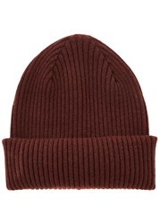 Paul Smith Burgundy Ribbed Cashmere Beanie Red
