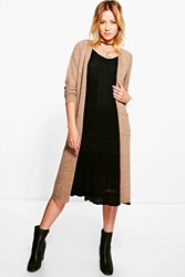 Boohoo Long Edge To Edge Cardigan Camel
