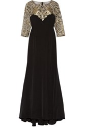 Marchesa Notte Embroidered Stretch Silk And Tulle Gown Black