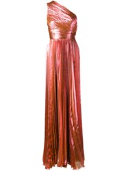 Maria Lucia Hohan Metallic One Shoulder Gown Pink Purple