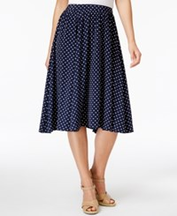 Charter Club Petite Dot Print A Line Skirt Only At Macy's Intrepid Blue Combo