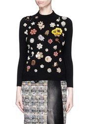 Alexander Mcqueen Glass Crystal Embellished Cashmere Sweater Black Multi Colour