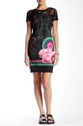 Desigual Lace Trim Short Sleeve Dress Black