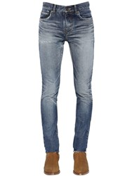 Saint Laurent 15Cm Skinny Low Rise Washed Denim Jeans Blue