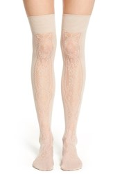 Women's Oroblu 'Parigina Dreamy' Lace Effect Over The Knee Socks Beige Cosmetic