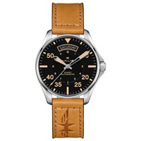 Hamilton H64645531 'S Khaki Pilot Day Date Automatic Leather Strap Watch Tan Black
