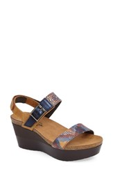 Naot Footwear Women's Alpha Platform Wedge Sandal Sandal Yellow Blue Leather