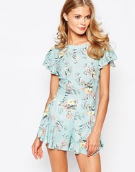 Love Romper In Floral Print Mint Floral