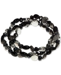 Nine West Silver Tone Multi Bead Three Row Stretch Bracelet Black