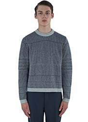 Thom Browne Needle Rib Jacquard Crew Neck Sweater Navy