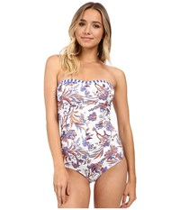 Freya Classic Saha Drapped Strapless One Piece White Blue Orange Floral Blue White Straps Women's Swimsuits One Piece Multi
