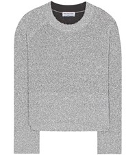 Balenciaga Lame Knitted Sweater Silver