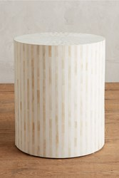 Anthropologie Rounded Inlay Side Table White