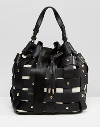 Mango Weaved Stud Bucket Bag Black