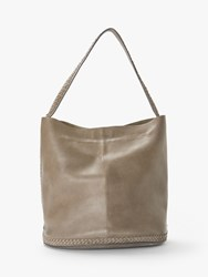 And Or Isabella Leather Whipstitch Bucket Bag Grey