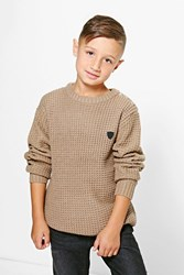 Boohoo Heavy Knit Button Detail Jumper Taupe