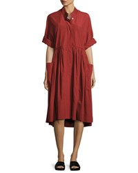 Urban Zen Smocked Utilitarian Tunic Dress Red Brick