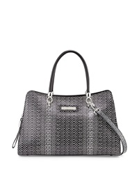 Charles Jourdan Winter 2 Snake Embossed Leather Satchel Bag Black White