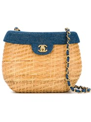 Chanel Vintage Basket Crossbody Bag Nude And Neutrals