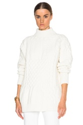 Nina Ricci Bi Color Patchwork Crewneck Sweater In White
