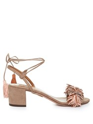 Aquazzura Wild Thing Suede Fringed Block Heel Sandals Nude Multi
