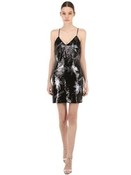 Philipp Plein Sequined Techno Mini Dress Black
