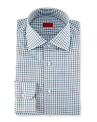 Isaia Check Long Sleeve Dress Shirt Gray