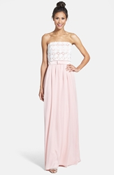 Lela Rose Bridesmaid Lace And Crinkled Chiffon Gown Rose