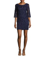 Aidan Mattox Boatneck Embroidered Lace Dress Navy
