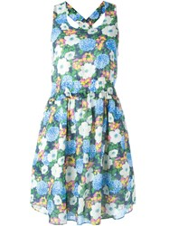 Carven Sleeveless Floral Dress Blue