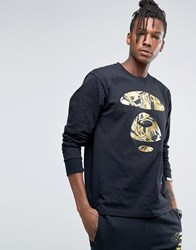 Aape By A Bathing Ape Long Sleeve T Shirt With Large Foil Logo Black