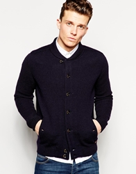 Ted Baker Merino Wool Knitted Jacket With Shawl Collar Navy