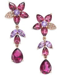 Effy Collection Bordeaux By Effy Multi Stone 10 9 10 Ct. T.W. And Diamond Accent Flower Drop Earrings In 14K Rose Gold Red