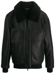 Z Zegna Shearling Collar Leather Jacket 60