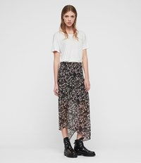 Allsaints Rhea Leopard Skirt Yellow
