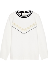 Mother Of Pearl Perrin Embellished Waffle Knit Cotton Sweatshirt