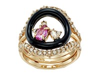 Alexis Bittar Enamel Framed Gemstone Band W Removable Crystal Band Ring 10K Gold Black Enamel