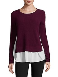 Design History Cashmere Two Fer Sweater Black Cherry