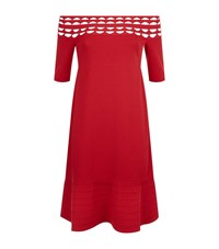D.Exterior Cut Out Boat Neckline Dress Female Red