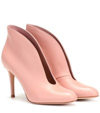 Gianvito Rossi Vamp 85 Leather Ankle Boots Pink