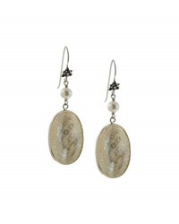 Stephen Dweck Carved Mother Of Pearl Oval Dangle Earrings White