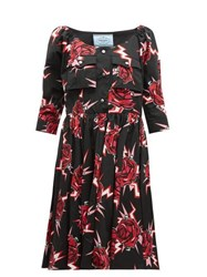 Prada Frankenstein Print Cotton Knee Length Dress Black Multi