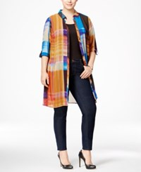 Ny Collection Plus Size Plaid Chiffon Duster Blouse Warm Stainglass