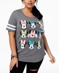 Disney Plus Size Minnie Mouse Graphic T Shirt Charcoal White