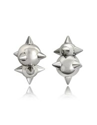 Dsquared2 Pierce Me Palladium Plated Metal Spiked Earrings Silver