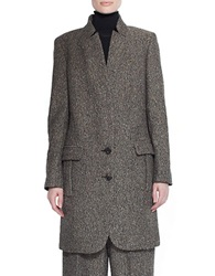 Pink Tartan Donegal Tweed Overcoat Brown